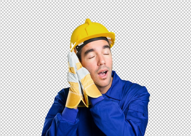Tired worker sleeping on white background