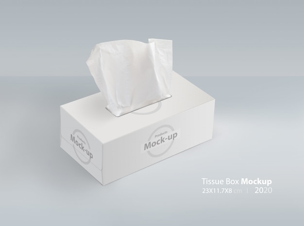 Tissue box on light gray background  with facial tissue