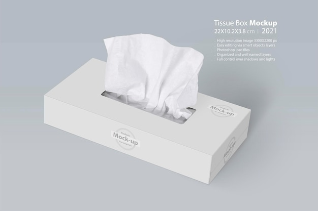 Tissue box on light gray surface editable  mockup series with smart object layers