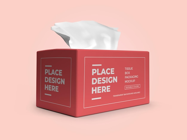 Tissue box packaging 3d mockup template psd