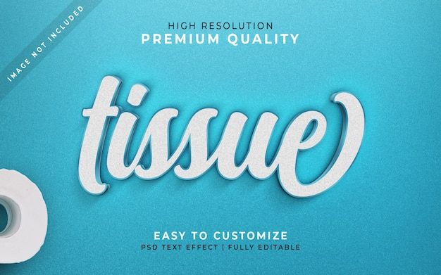 Tissue paper 3d text style template