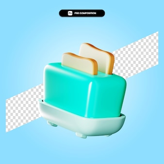 Toaster 3d render illustration isolated