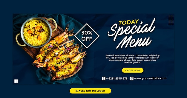 Today special menu for restaurant facebook cover template