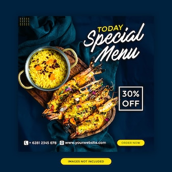 Today special menu restaurant social media banner template