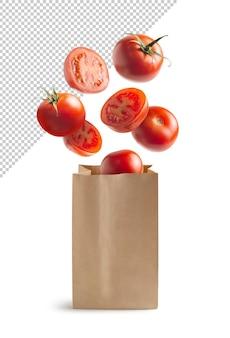 リサイクル紙袋で飛んでいるトマト