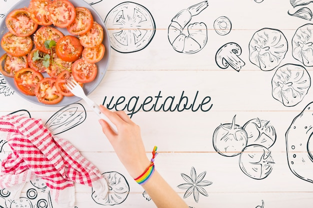 Tomatoes on plate and copyspace