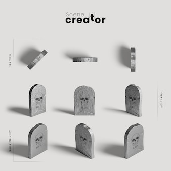 Tombstone variety of angles halloween scene creator