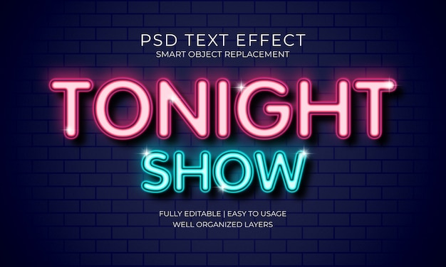 Tonight show text effect Premium Psd