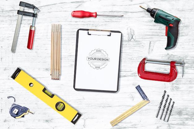 Tools and paper mockup