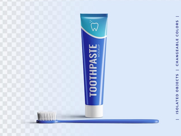 歯ブラシの正面図が分離された歯磨き粉チューブプラスチック包装モックアップ