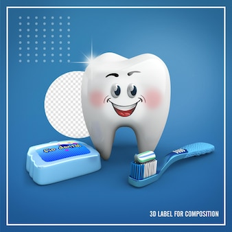 브러시와 치실이있는 이빨 모양의 마스코트