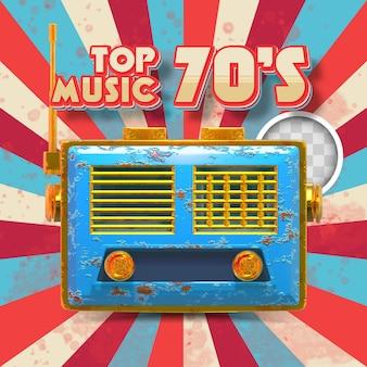 70年代のトップミュージック。 3dイラスト
