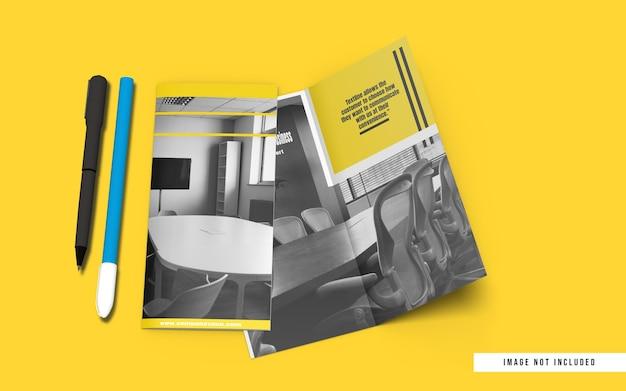 Top angle dl size bifold brochure mockup