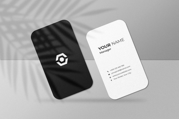 Top angle view of business card mockup with shadow