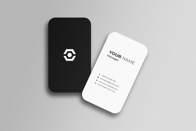 Top angle view of business card mockup