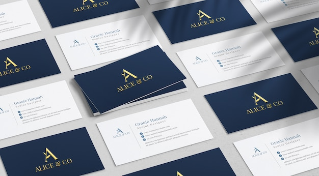 Top angle view of business cards mockup