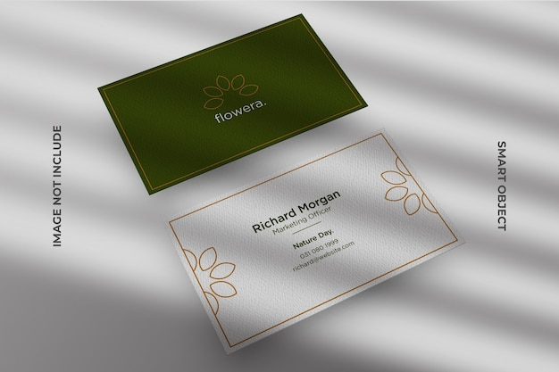 Top angle view of minimal business card mockup