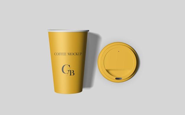 Кофейная чашка с крышкой макет