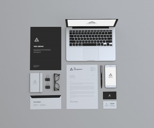 Top professional stationary mockup