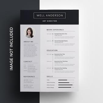 Top & sidebar simple resume template