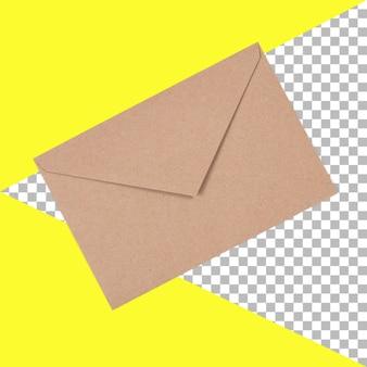 Вид сверху изолированный коричневый конверт