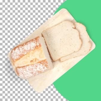 Верхний вид изолированного свежего горячего хлеба с двумя ломтиками.
