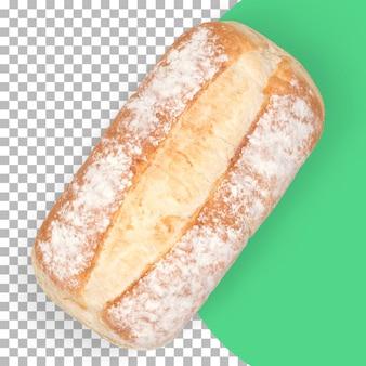 Вид сверху изолированный свежий горячий хлеб
