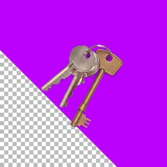 孤立した金属製の鍵の上面図