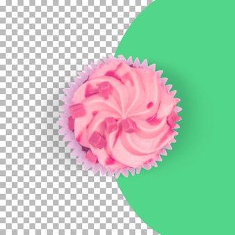 상위 뷰 격리 된 핑크 컵 케이크