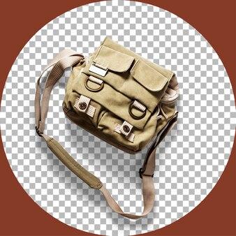 투명하게 분리된 카키색 카메라 가방을 위로 올려 보세요.