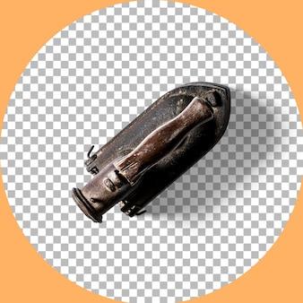 透明に分離された上面図のヴィンテージ石炭鉄。