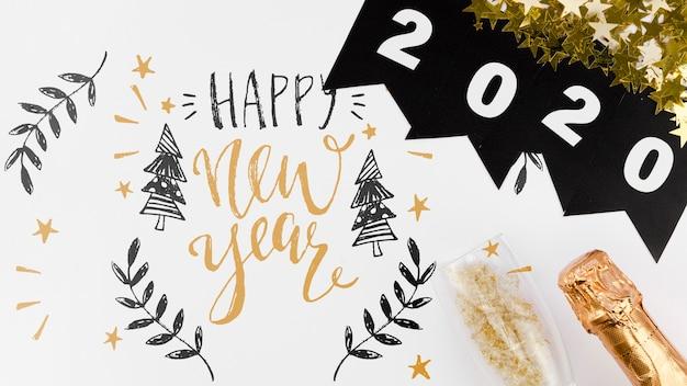 새 해 인용 귀여운 낙서와 상위 뷰 2020 화 환