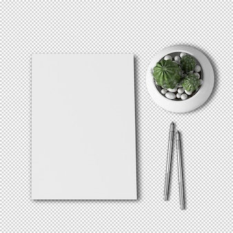 Top view a4 paper and cactus plant mockup