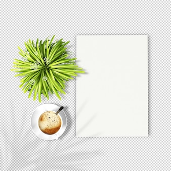 Top view a4 paper and plant mockup