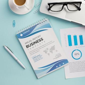 Вид сверху годовой отчет бизнес шаблон