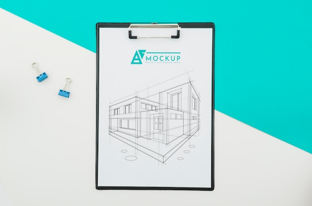 Top view architecture drawing with mock-up