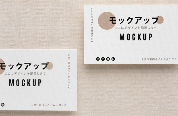 Top view arrangement of business visiting card