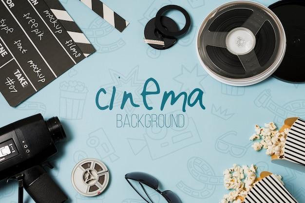 Top view arrangement of cinema elements mock-up