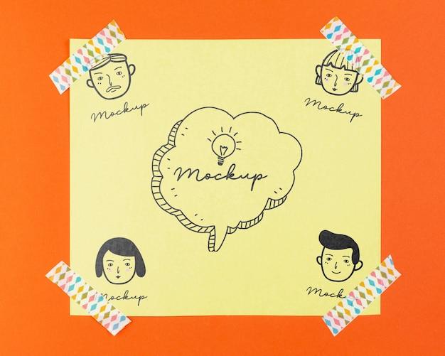 Top view arrangement of mock-up tag