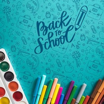 Top view arrangement with back to school items