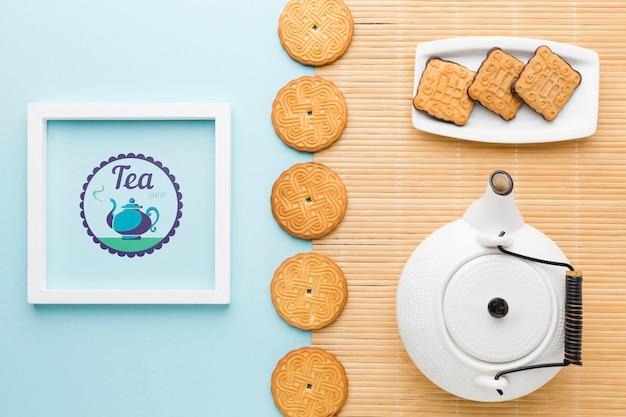 Top view arrangement with biscuits