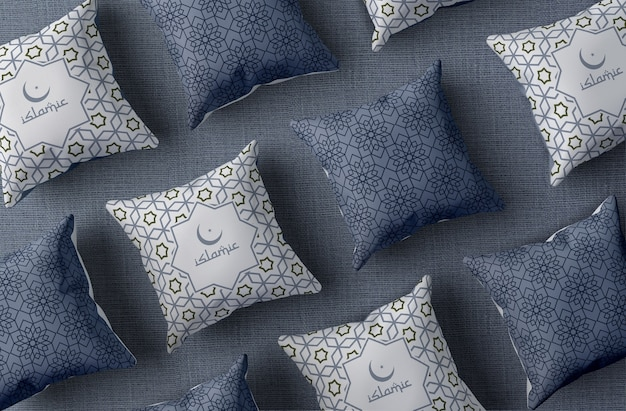 Top view arrangement with ramadan pillows