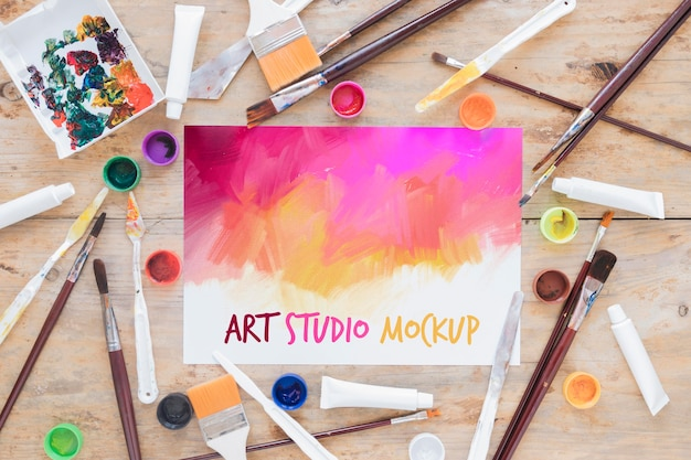 Top view art studio mock-up