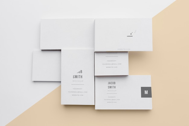 Top view assortment of mock-up business card