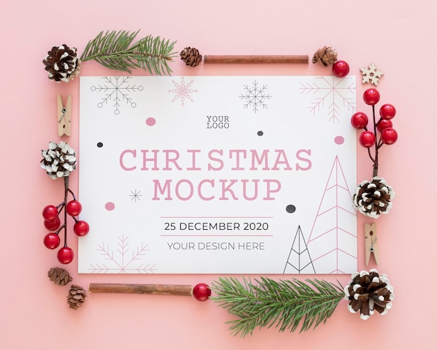 クリスマスイブの要素のモックアップの上面図の品揃え