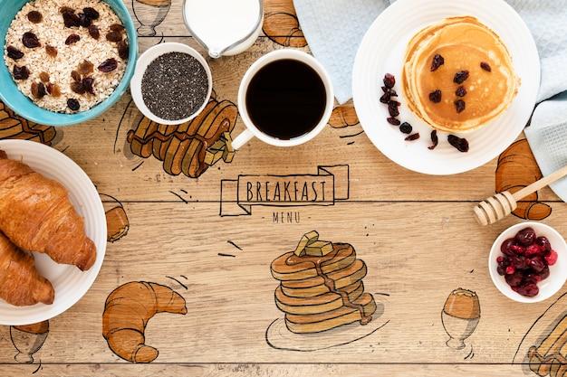 Вид сверху ассортимент закусок на столе