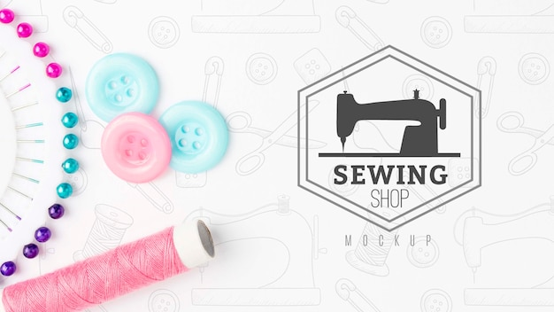 Top view assortment of sewing accessories