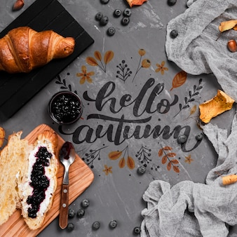 Top view autumn breakfast on stucco background