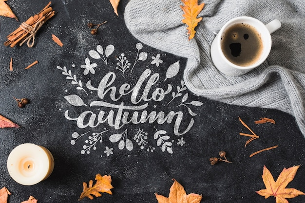 Top view autumnal arrangement with coffee and blanket