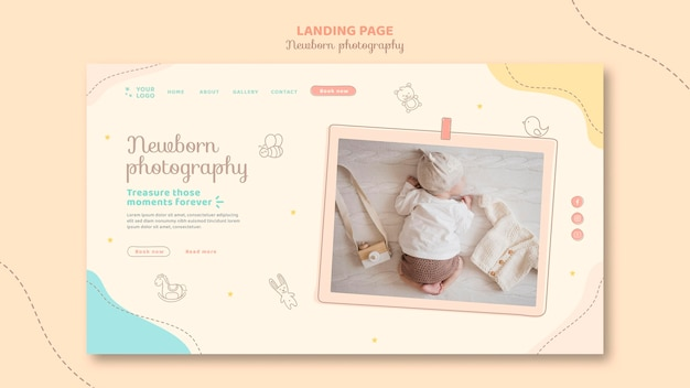Top view baby sleeping landing page template